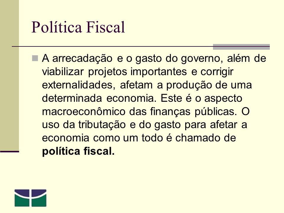 Política Fiscal A arrecadação e o gasto do governo, além de viabilizar projetos importantes e corrigir externalidades, afetam a produção de uma determinada economia.