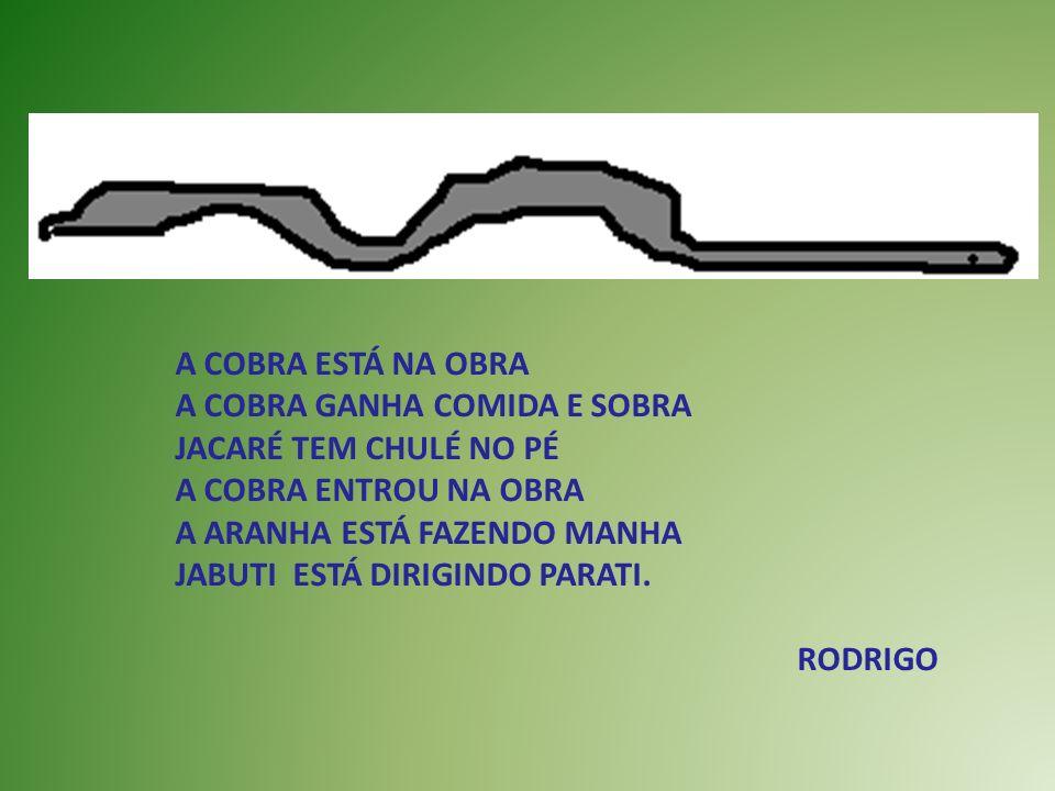 UM DIA EU VI UMA GIRAFA TOMANDO REFRI NA GARRAFA A GIRAFA SE CORTOU COM UMA FACA O PAVÃO É BONITÃO O BUGIO TEM MEDO DE IR AO RIO.