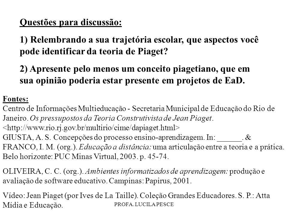 PROFA. LUCILA PESCE Fontes: Centro de Informações Multieducação - Secretaria Municipal de Educação do Rio de Janeiro. Os pressupostos da Teoria Constr