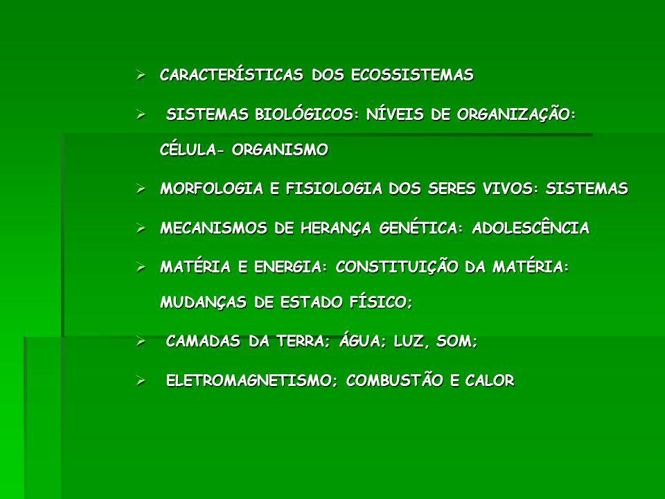CARACTERÍSTICAS DOS ECOSSISTEMAS CARACTERÍSTICAS DOS ECOSSISTEMAS SISTEMAS BIOLÓGICOS: NÍVEIS DE ORGANIZAÇÃO: CÉLULA- ORGANISMO SISTEMAS BIOLÓGICOS: N
