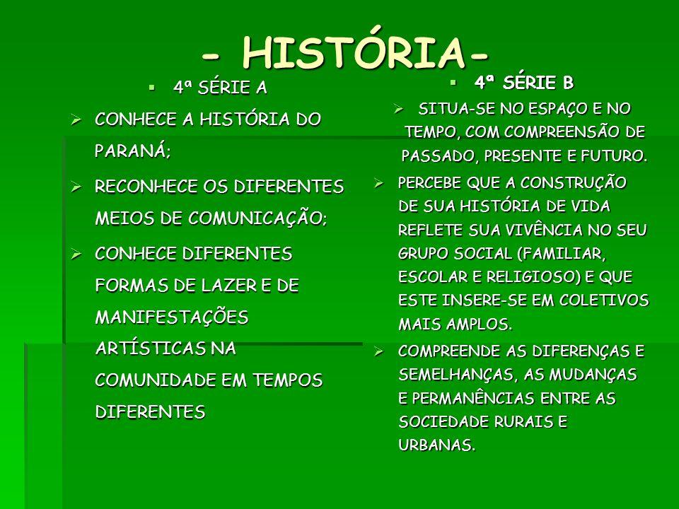 - HISTÓRIA- 4ª SÉRIE A 4ª SÉRIE A CONHECE A HISTÓRIA DO PARANÁ; CONHECE A HISTÓRIA DO PARANÁ; RECONHECE OS DIFERENTES MEIOS DE COMUNICAÇÃO; RECONHECE