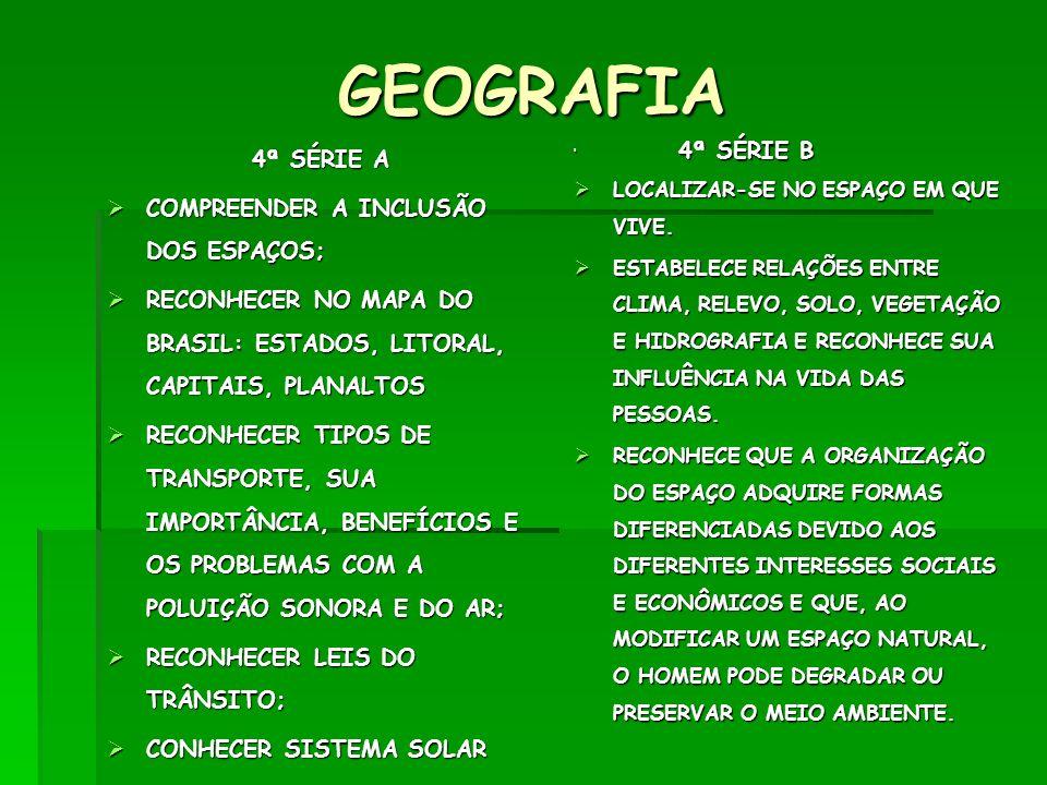 GEOGRAFIA 4ª SÉRIE A COMPREENDER A INCLUSÃO DOS ESPAÇOS; COMPREENDER A INCLUSÃO DOS ESPAÇOS; RECONHECER NO MAPA DO BRASIL: ESTADOS, LITORAL, CAPITAIS,