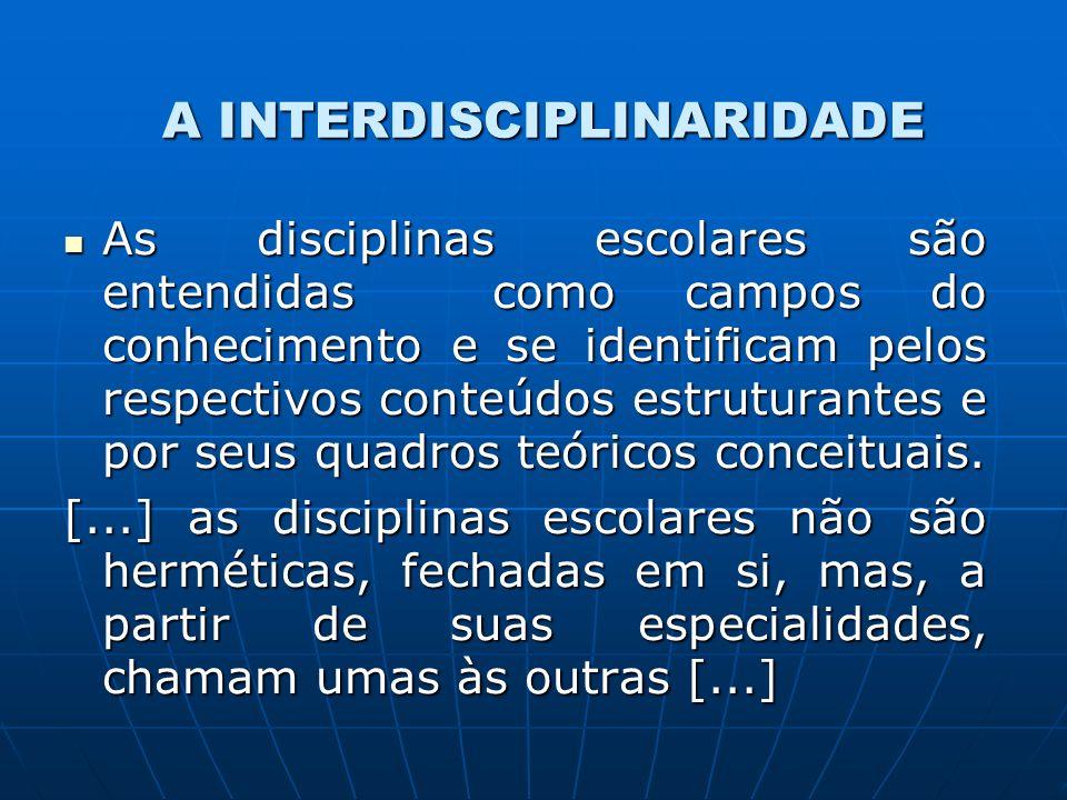A INTERDISCIPLINARIDADE As disciplinas escolares são entendidas como campos do conhecimento e se identificam pelos respectivos conteúdos estruturantes