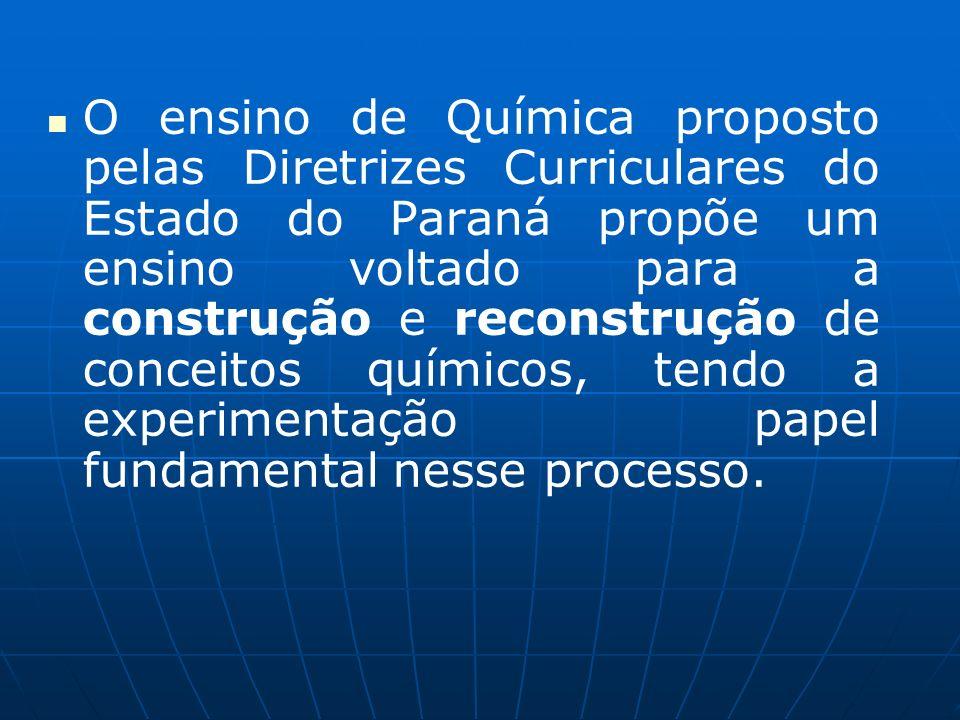 O ensino de Química proposto pelas Diretrizes Curriculares do Estado do Paraná propõe um ensino voltado para a construção e reconstrução de conceitos