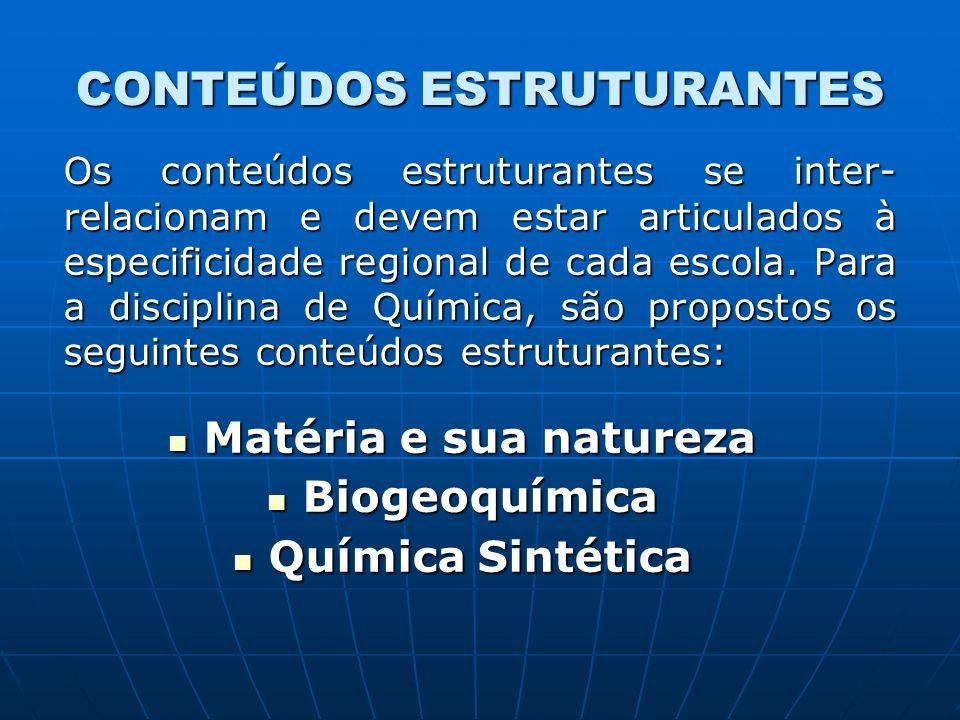CONTEÚDOS ESTRUTURANTES Os conteúdos estruturantes se inter- relacionam e devem estar articulados à especificidade regional de cada escola.
