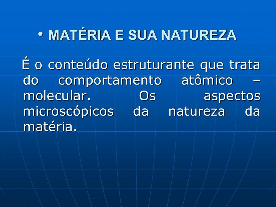 MATÉRIA E SUA NATUREZA MATÉRIA E SUA NATUREZA É o conteúdo estruturante que trata do comportamento atômico – molecular. Os aspectos microscópicos da n