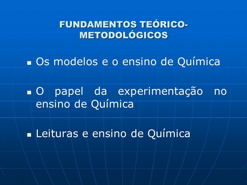 FUNDAMENTOS TEÓRICO- METODOLÓGICOS Os modelos e o ensino de Química O papel da experimentação no ensino de Química Leituras e ensino de Química