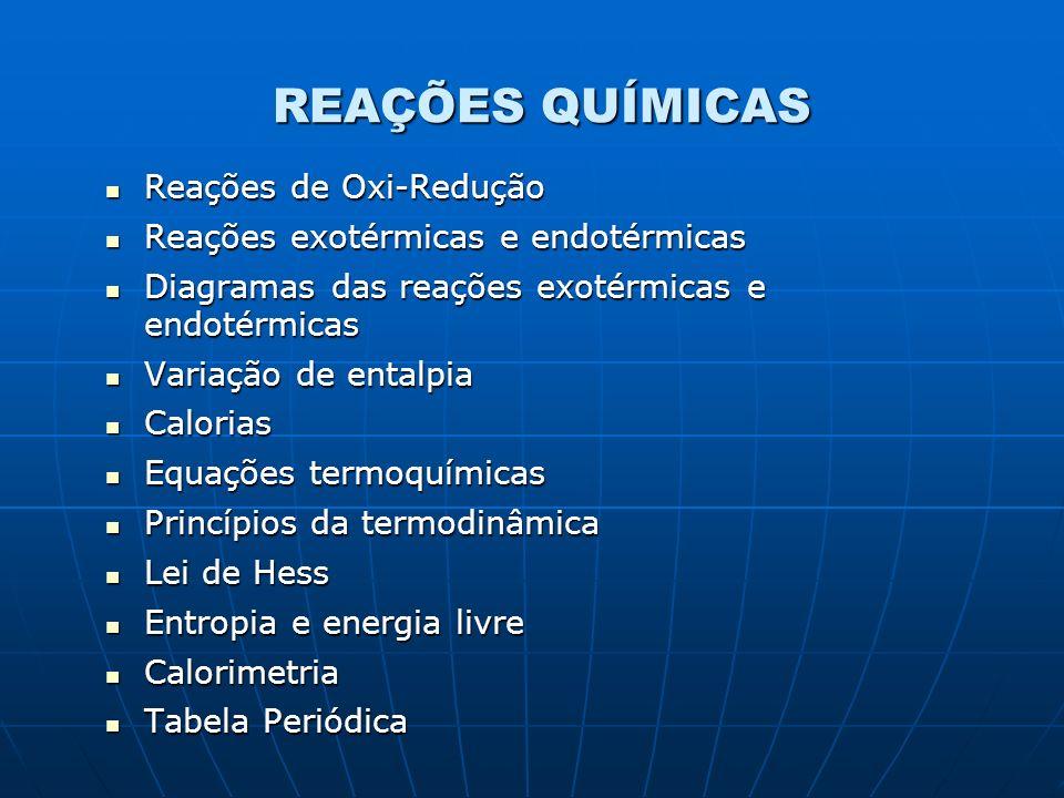 REAÇÕES QUÍMICAS Reações de Oxi-Redução Reações de Oxi-Redução Reações exotérmicas e endotérmicas Reações exotérmicas e endotérmicas Diagramas das rea