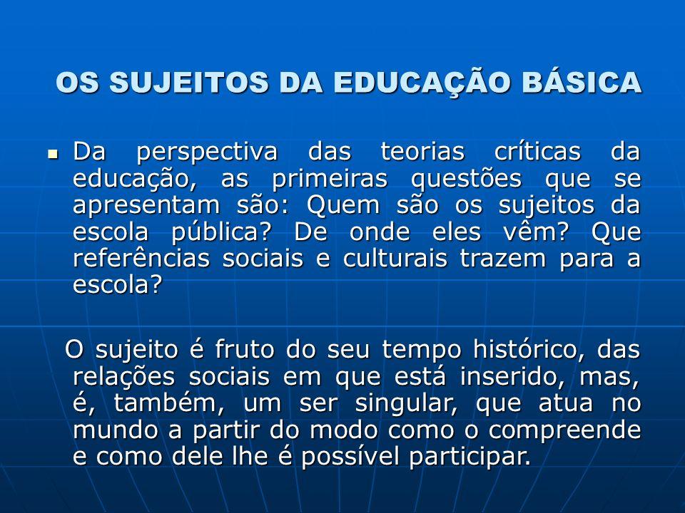 OS SUJEITOS DA EDUCAÇÃO BÁSICA Da perspectiva das teorias críticas da educação, as primeiras questões que se apresentam são: Quem são os sujeitos da escola pública.