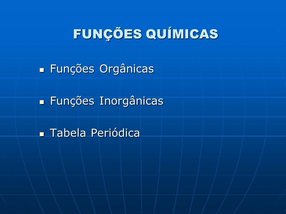 FUNÇÕES QUÍMICAS Funções Orgânicas Funções Orgânicas Funções Inorgânicas Funções Inorgânicas Tabela Periódica Tabela Periódica