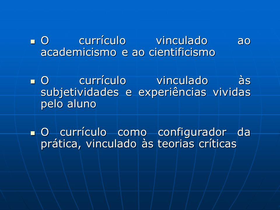 O currículo vinculado ao academicismo e ao cientificismo O currículo vinculado ao academicismo e ao cientificismo O currículo vinculado às subjetivida