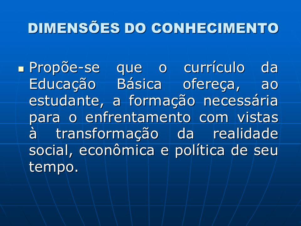 DIMENSÕES DO CONHECIMENTO Propõe-se que o currículo da Educação Básica ofereça, ao estudante, a formação necessária para o enfrentamento com vistas à transformação da realidade social, econômica e política de seu tempo.