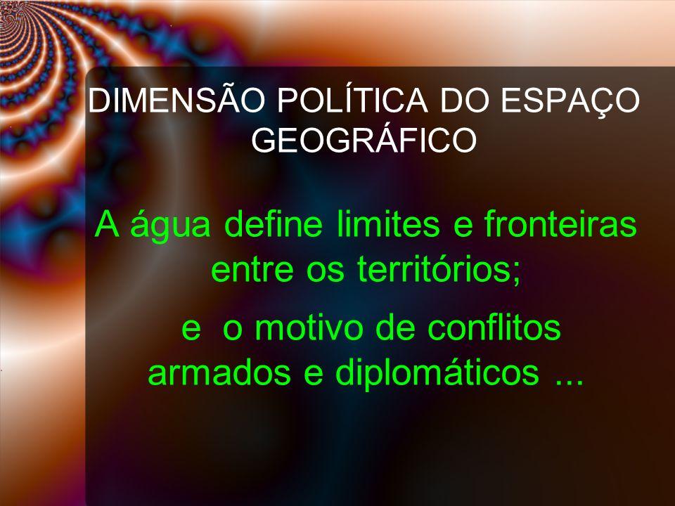 DIMENSÃO POLÍTICA DO ESPAÇO GEOGRÁFICO A água define limites e fronteiras entre os territórios; e o motivo de conflitos armados e diplomáticos...