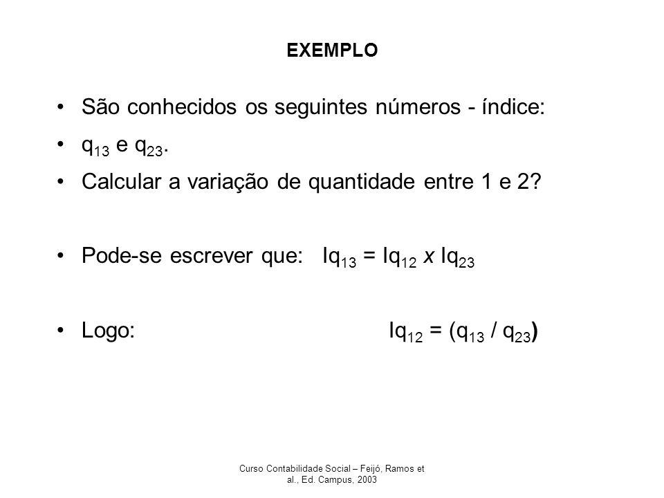 Curso Contabilidade Social – Feijó, Ramos et al., Ed. Campus, 2003 EXEMPLO São conhecidos os seguintes números - índice: q 13 e q 23. Calcular a varia
