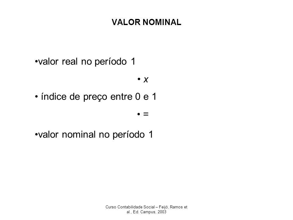 Curso Contabilidade Social – Feijó, Ramos et al., Ed. Campus, 2003 VALOR NOMINAL valor real no período 1 x índice de preço entre 0 e 1 = valor nominal