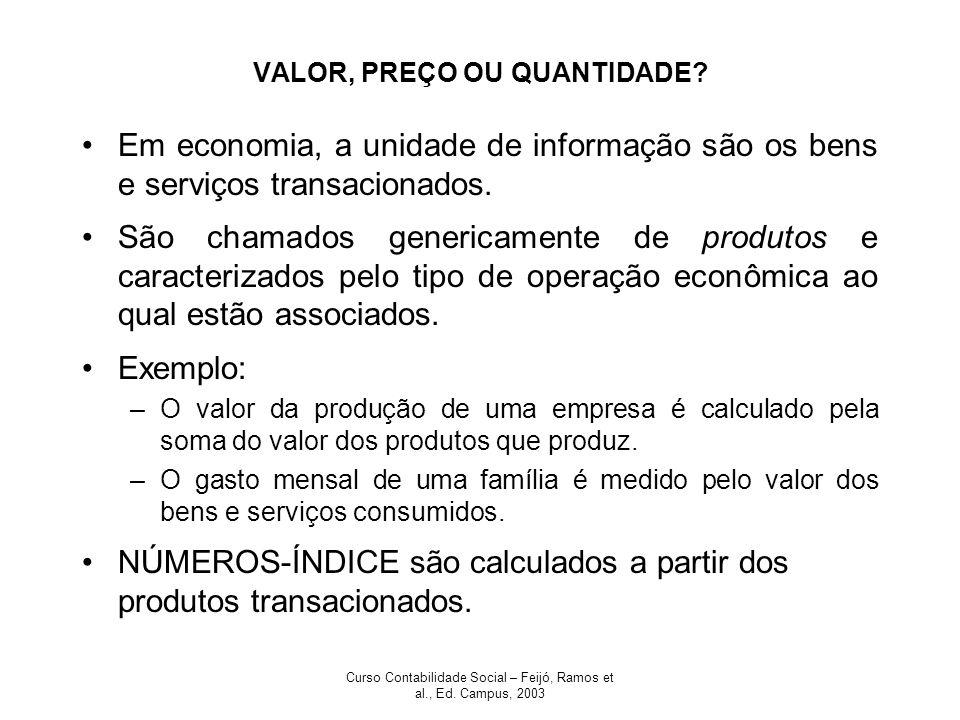 Curso Contabilidade Social – Feijó, Ramos et al., Ed. Campus, 2003 VALOR, PREÇO OU QUANTIDADE? Em economia, a unidade de informação são os bens e serv