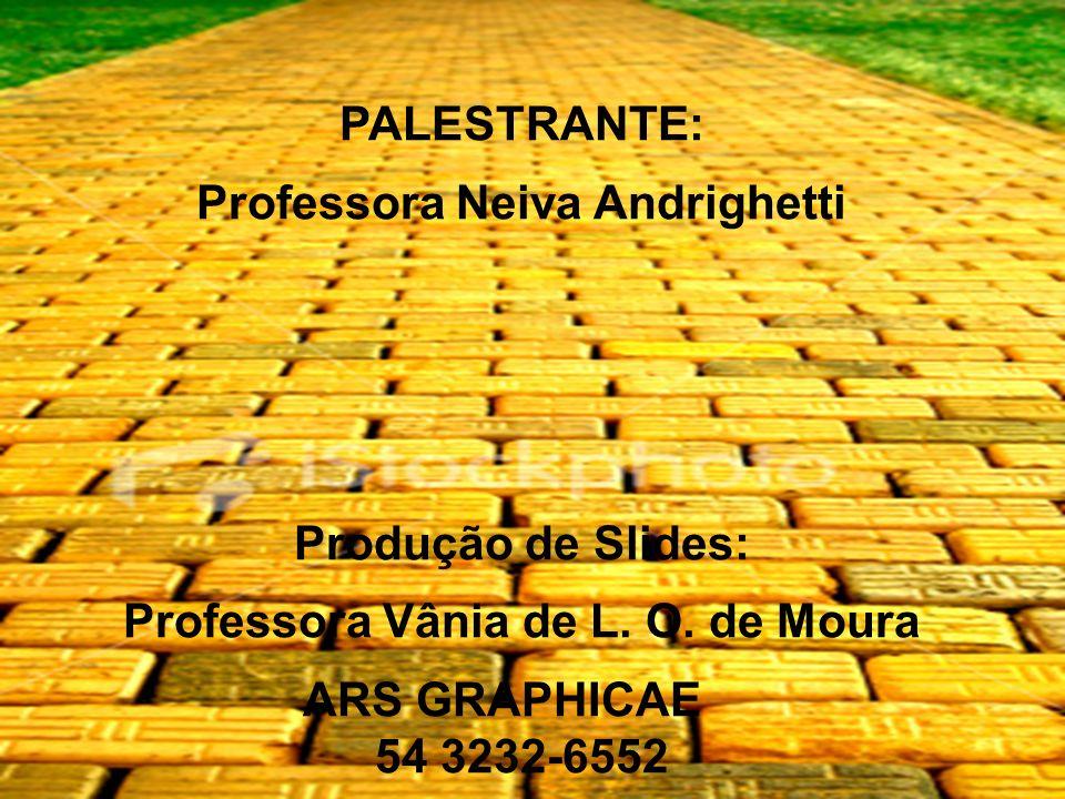 PALESTRANTE: Professora Neiva Andrighetti Produção de Slides: Professora Vânia de L. O. de Moura ARS GRAPHICAE 54 3232-6552
