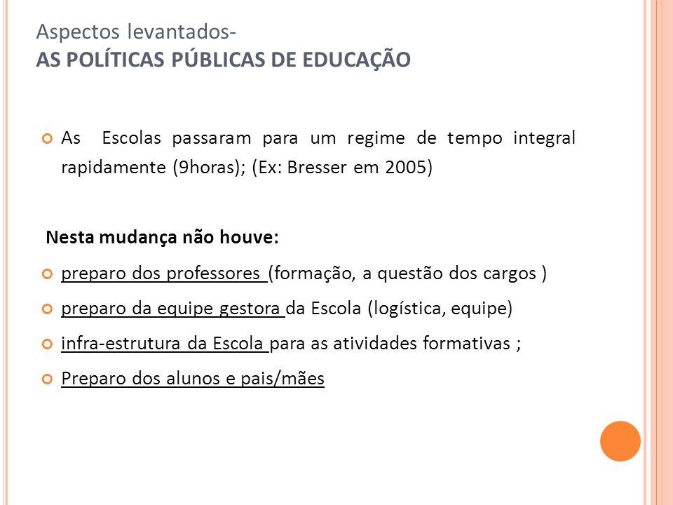 Aspectos levantados- AS POLÍTICAS PÚBLICAS DE EDUCAÇÃO As Escolas passaram para um regime de tempo integral rapidamente (9horas); (Ex: Bresser em 2005