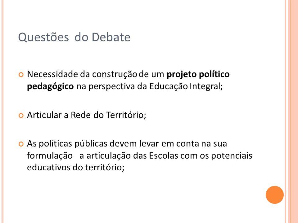 Questões do Debate Necessidade da construção de um projeto político pedagógico na perspectiva da Educação Integral; Articular a Rede do Território; As