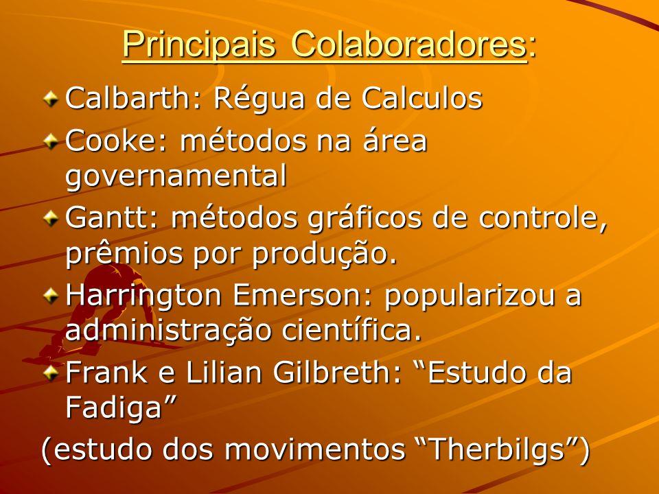 Principais Colaboradores: Calbarth: Régua de Calculos Cooke: métodos na área governamental Gantt: métodos gráficos de controle, prêmios por produção.