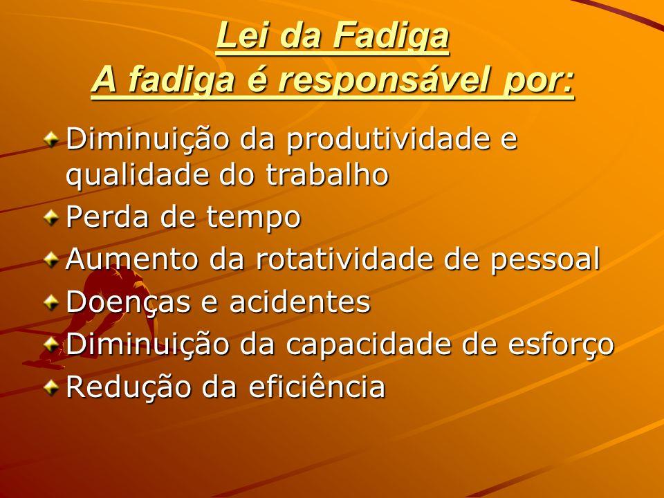 Lei da Fadiga A fadiga é responsável por: Diminuição da produtividade e qualidade do trabalho Perda de tempo Aumento da rotatividade de pessoal Doença