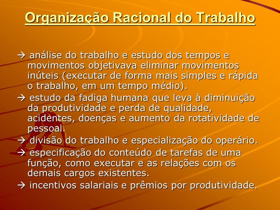 Organização Racional do Trabalho análise do trabalho e estudo dos tempos e movimentos objetivava eliminar movimentos inúteis (executar de forma mais s