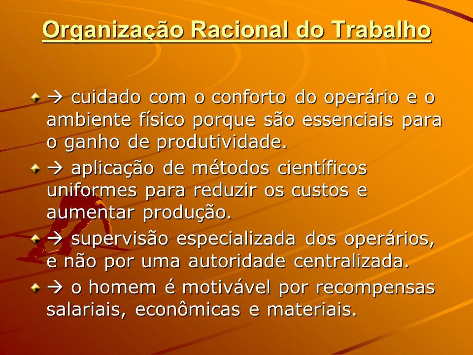 Organização Racional do Trabalho cuidado com o conforto do operário e o ambiente físico porque são essenciais para o ganho de produtividade. cuidado c