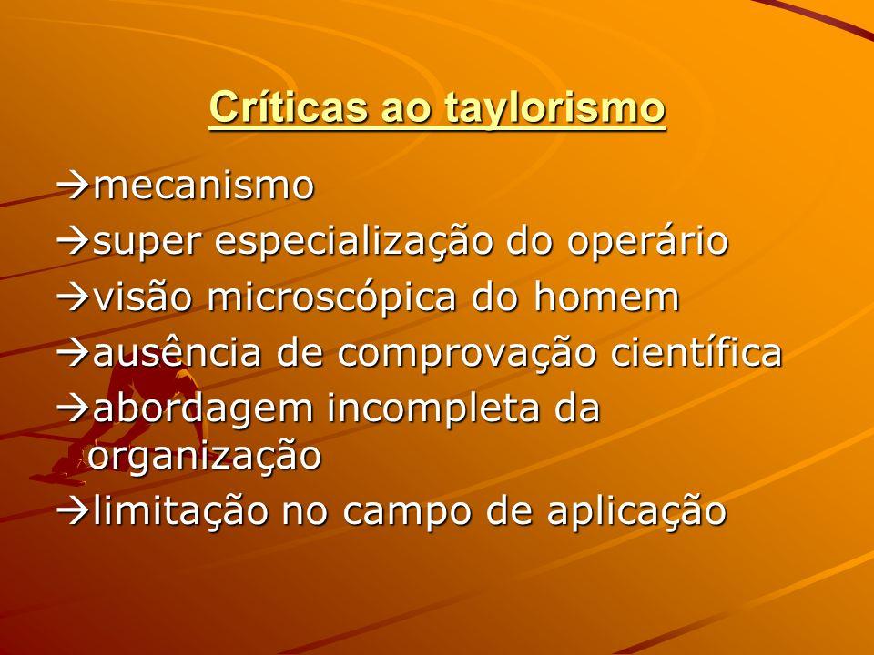 Críticas ao taylorismo mecanismo mecanismo super especialização do operário super especialização do operário visão microscópica do homem visão microsc