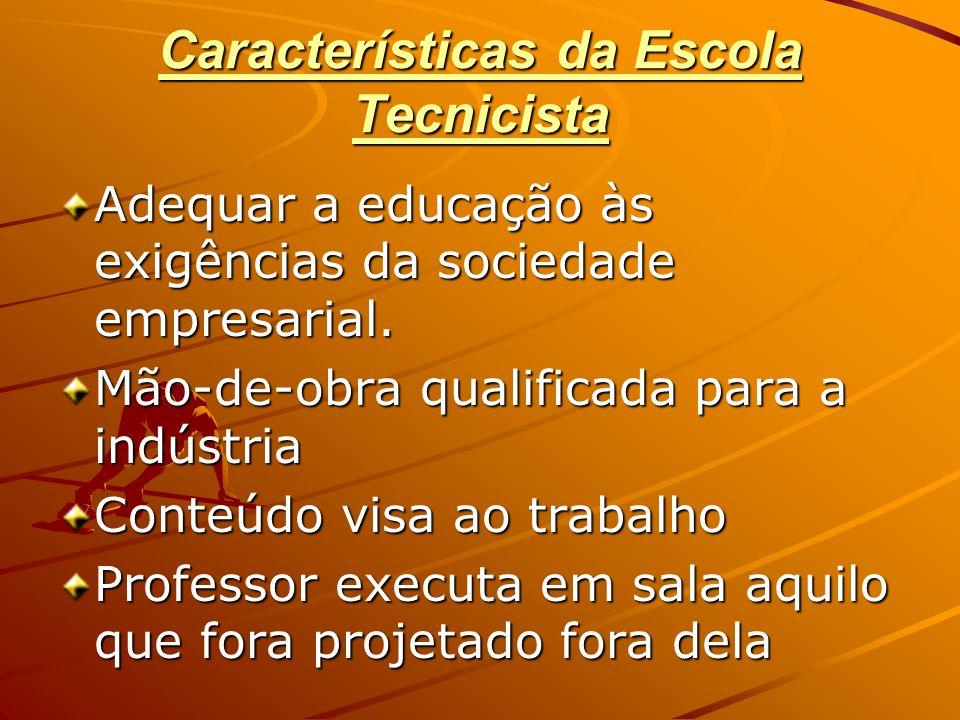 Características da Escola Tecnicista Adequar a educação às exigências da sociedade empresarial. Mão-de-obra qualificada para a indústria Conteúdo visa