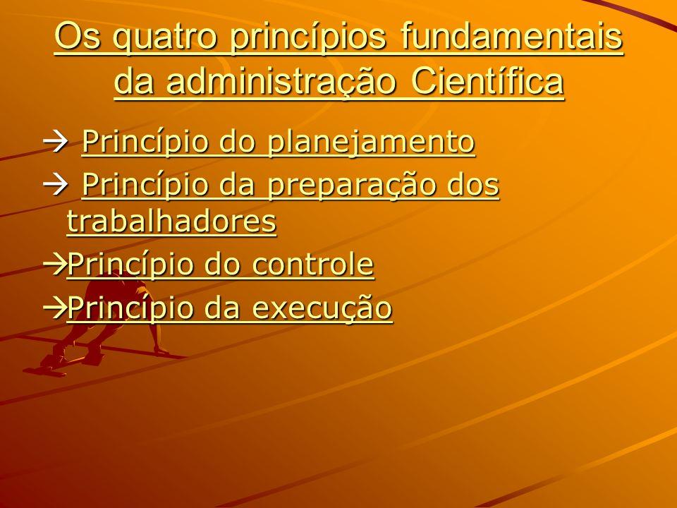 Os quatro princípios fundamentais da administração Científica Princípio do planejamento Princípio do planejamentoPrincípio do planejamentoPrincípio do