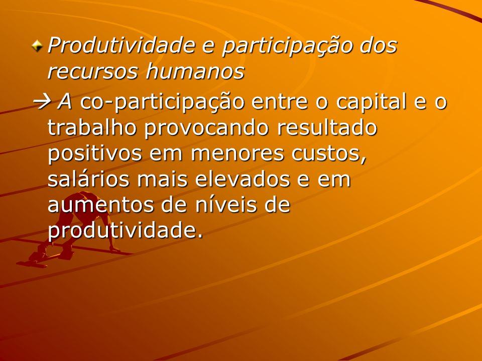 Produtividade e participação dos recursos humanos A co-participação entre o capital e o trabalho provocando resultado positivos em menores custos, sal