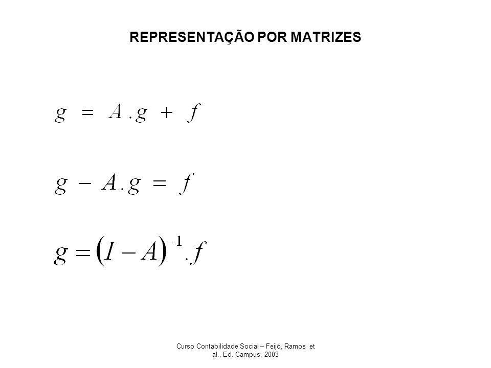 Curso Contabilidade Social – Feijó, Ramos et al., Ed. Campus, 2003 REPRESENTAÇÃO POR MATRIZES