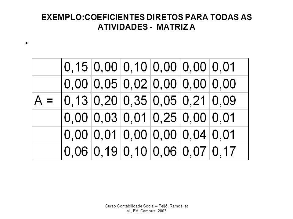 Curso Contabilidade Social – Feijó, Ramos et al., Ed. Campus, 2003 EXEMPLO:COEFICIENTES DIRETOS PARA TODAS AS ATIVIDADES - MATRIZ A