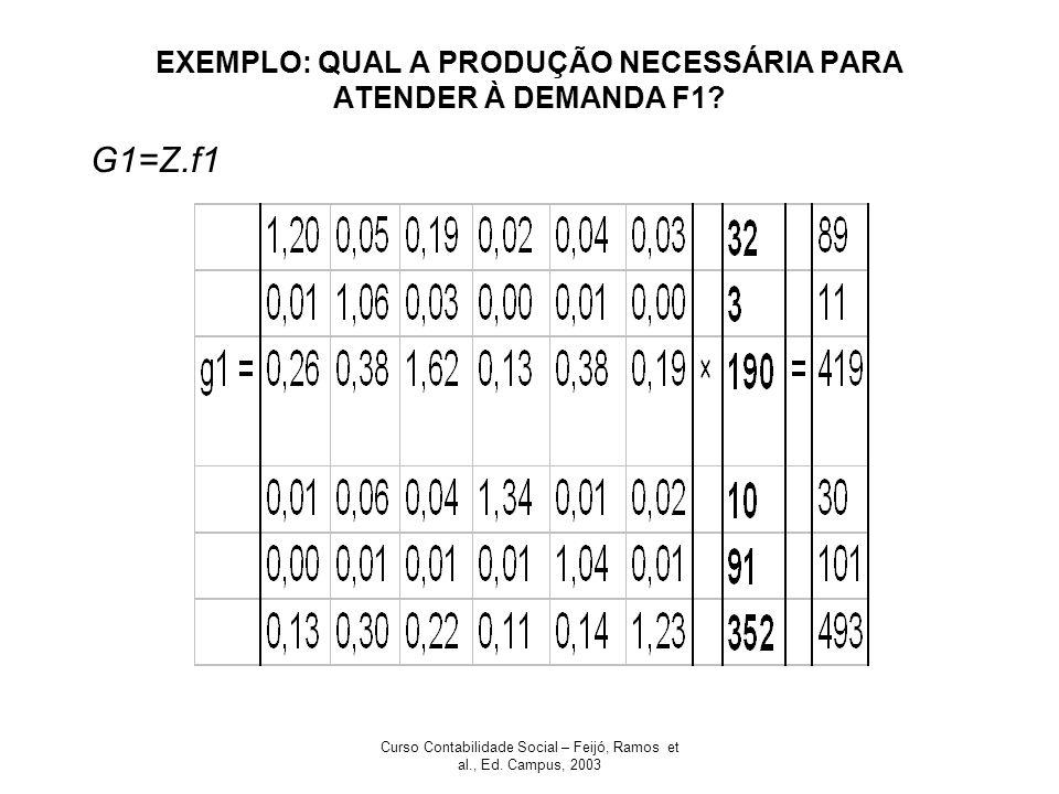 Curso Contabilidade Social – Feijó, Ramos et al., Ed. Campus, 2003 EXEMPLO: QUAL A PRODUÇÃO NECESSÁRIA PARA ATENDER À DEMANDA F1? G1=Z.f1