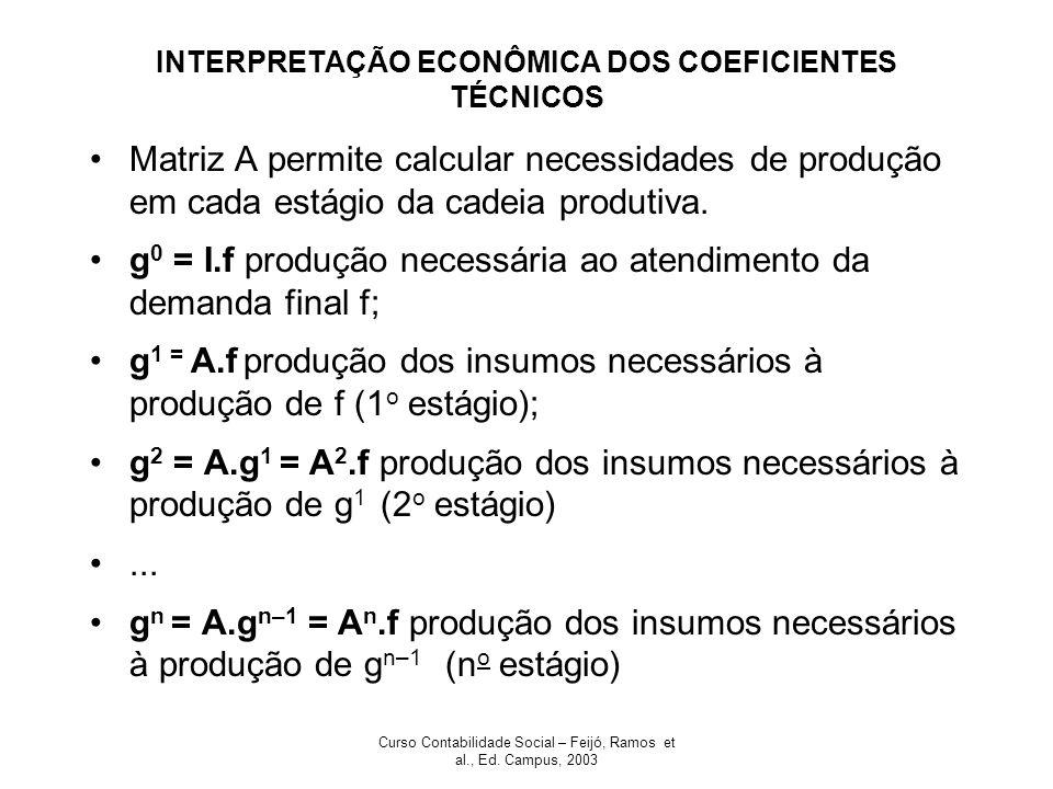 Curso Contabilidade Social – Feijó, Ramos et al., Ed. Campus, 2003 INTERPRETAÇÃO ECONÔMICA DOS COEFICIENTES TÉCNICOS Matriz A permite calcular necessi