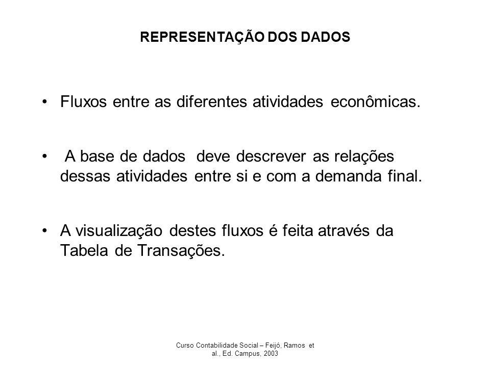 Curso Contabilidade Social – Feijó, Ramos et al., Ed. Campus, 2003 REPRESENTAÇÃO DOS DADOS Fluxos entre as diferentes atividades econômicas. A base de