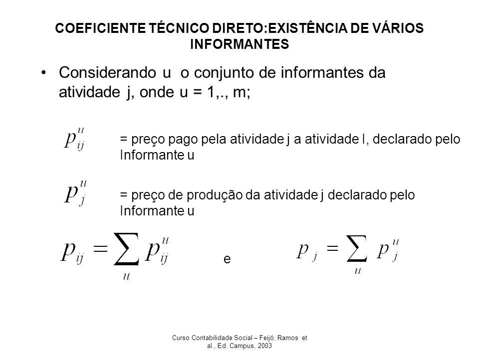 Curso Contabilidade Social – Feijó, Ramos et al., Ed. Campus, 2003 COEFICIENTE TÉCNICO DIRETO:EXISTÊNCIA DE VÁRIOS INFORMANTES Considerando u o conjun