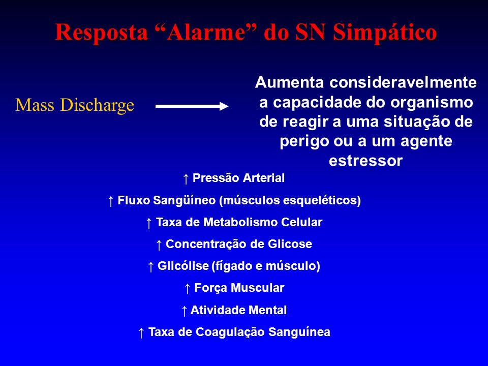 Resposta Alarme do SN Simpático Mass Discharge Aumenta consideravelmente a capacidade do organismo de reagir a uma situação de perigo ou a um agente e