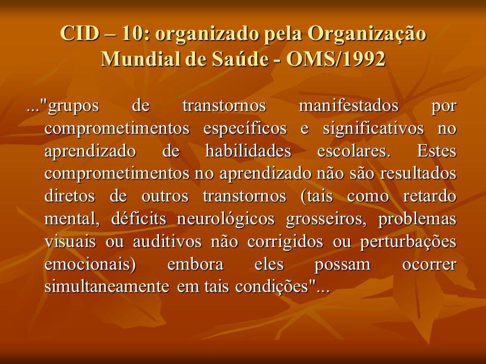 CID – 10: organizado pela Organização Mundial de Saúde - OMS/1992...