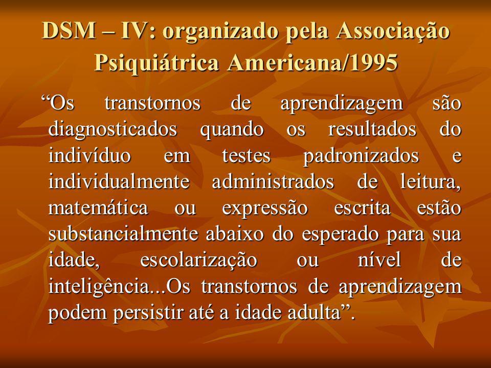 DSM – IV: organizado pela Associação Psiquiátrica Americana/1995 Os transtornos de aprendizagem são diagnosticados quando os resultados do indivíduo e