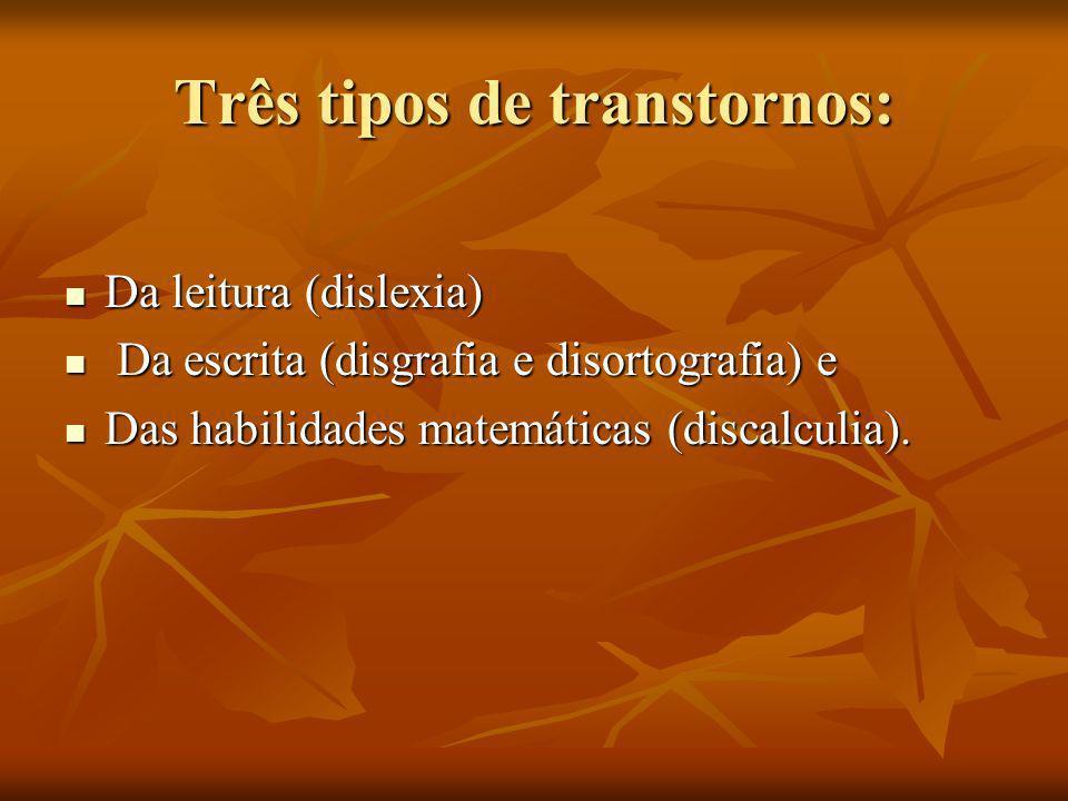 Três tipos de transtornos: Da leitura (dislexia) Da leitura (dislexia) Da escrita (disgrafia e disortografia) e Da escrita (disgrafia e disortografia)