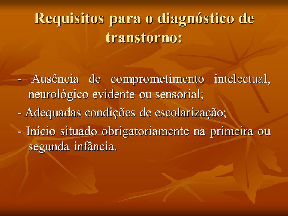 Requisitos para o diagnóstico de transtorno: - Ausência de comprometimento intelectual, neurológico evidente ou sensorial; - Adequadas condições de es