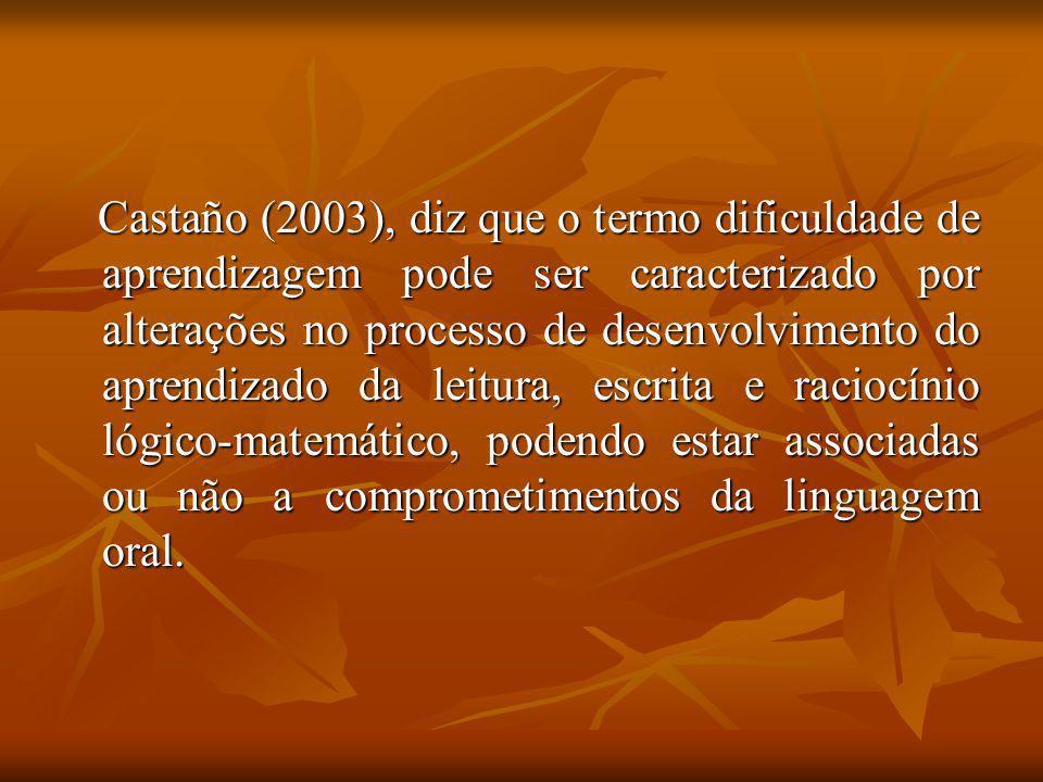 Castaño (2003), diz que o termo dificuldade de aprendizagem pode ser caracterizado por alterações no processo de desenvolvimento do aprendizado da lei