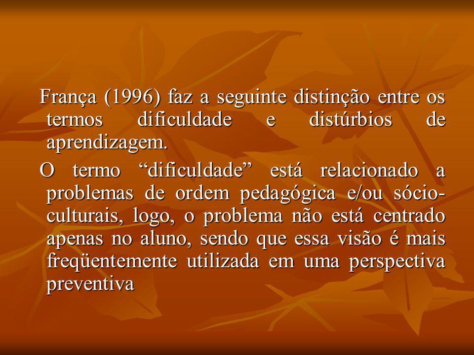 França (1996) faz a seguinte distinção entre os termos dificuldade e distúrbios de aprendizagem. França (1996) faz a seguinte distinção entre os termo