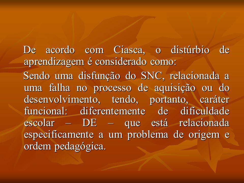 De acordo com Ciasca, o distúrbio de aprendizagem é considerado como: De acordo com Ciasca, o distúrbio de aprendizagem é considerado como: Sendo uma