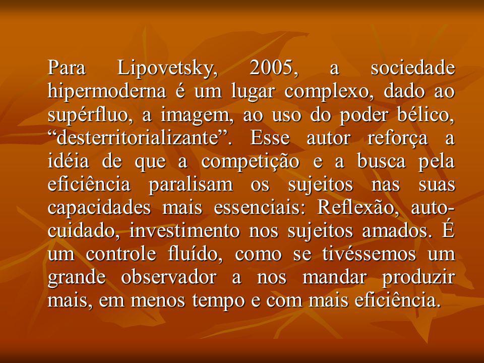 Para Lipovetsky, 2005, a sociedade hipermoderna é um lugar complexo, dado ao supérfluo, a imagem, ao uso do poder bélico, desterritorializante. Esse a