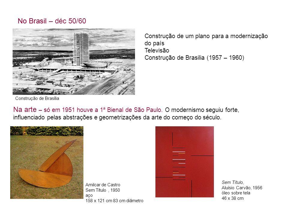 Construção de Brasília No Brasil – déc 50/60 Construção de um plano para a modernização do país Televisão Construção de Brasilia (1957 – 1960) No Bras