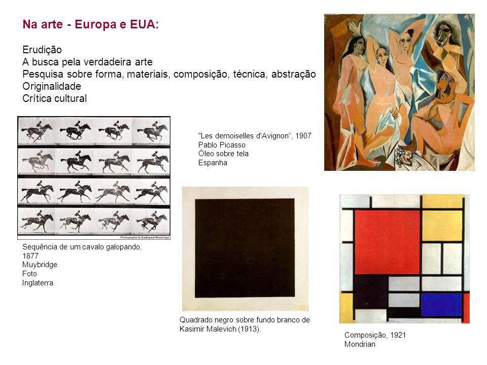 Na arte - Europa e EUA: Erudição A busca pela verdadeira arte Pesquisa sobre forma, materiais, composição, técnica, abstração Originalidade Crítica cu