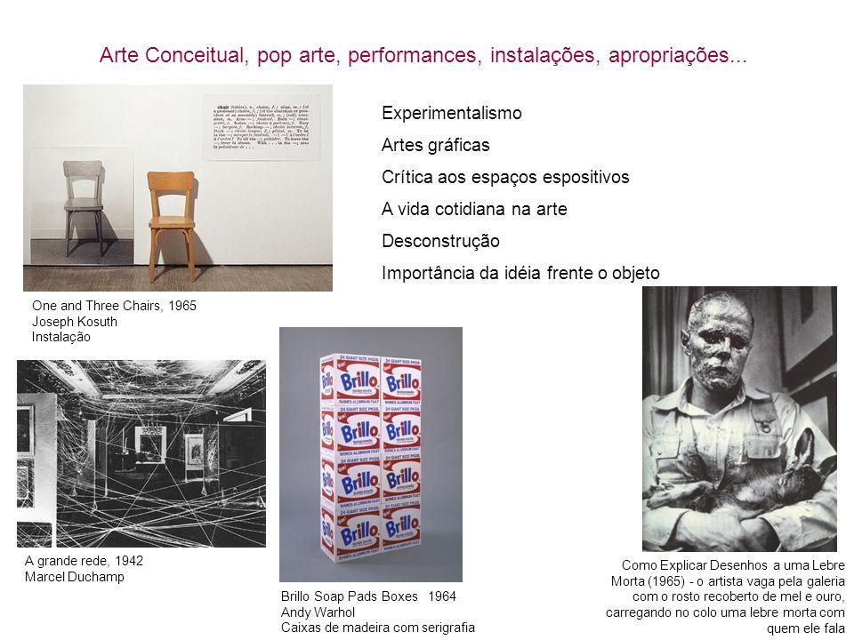Arte Conceitual, pop arte, performances, instalações, apropriações... One and Three Chairs, 1965 Joseph Kosuth Instalação Brillo Soap Pads Boxes 1964