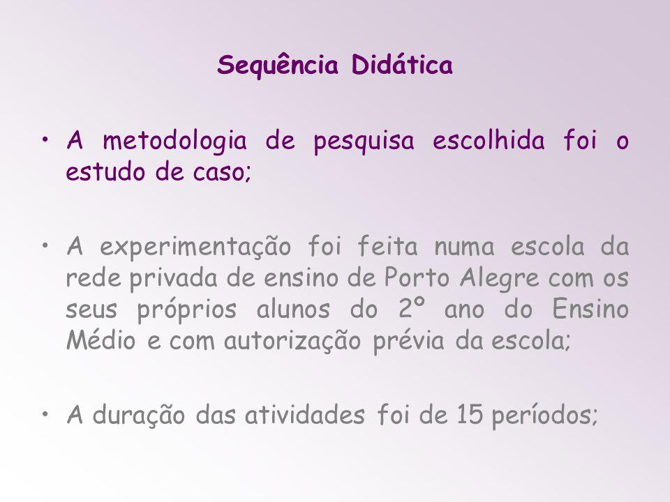 Sequência Didática A metodologia de pesquisa escolhida foi o estudo de caso; A experimentação foi feita numa escola da rede privada de ensino de Porto